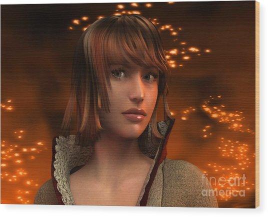 Fire Lady 3d Wood Print