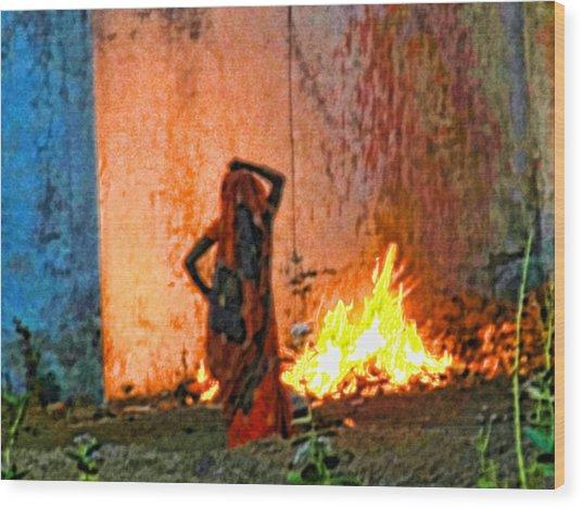 Fire Wood Print by Makarand Purohit
