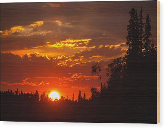 Fire Sun Wood Print