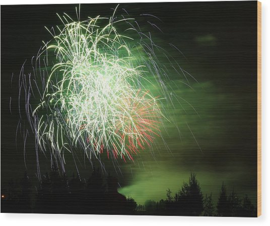 Fireworks 2 Wood Print by Donna Barker