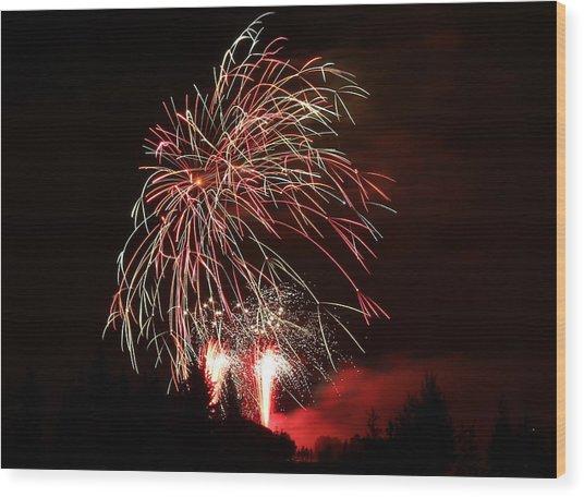 Fireworks 4 Wood Print by Donna Barker
