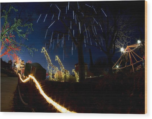Fireworks And Giraffes In Xmas Lights Wood Print