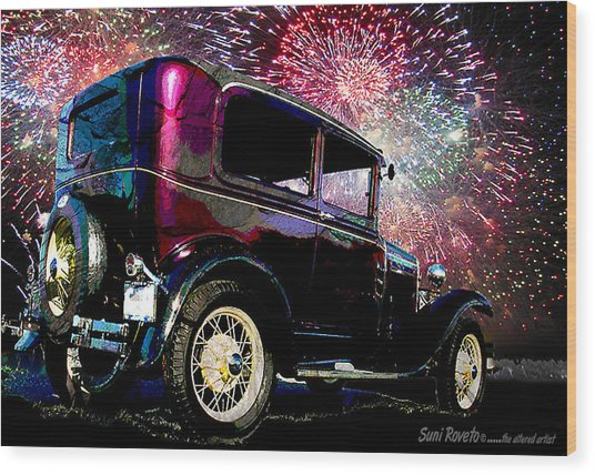 Fireworks In The Ford Wood Print