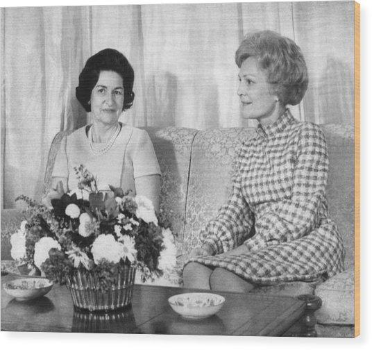 First Lady Lady Bird Johnson Meets Wood Print by Everett