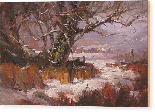 First Snow Wood Print by Richard Robinson