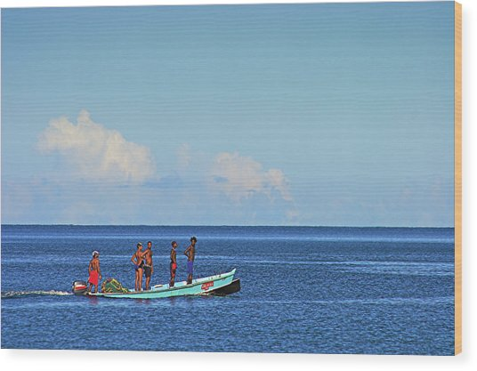 Fishermen And Canoe- St Lucia Wood Print