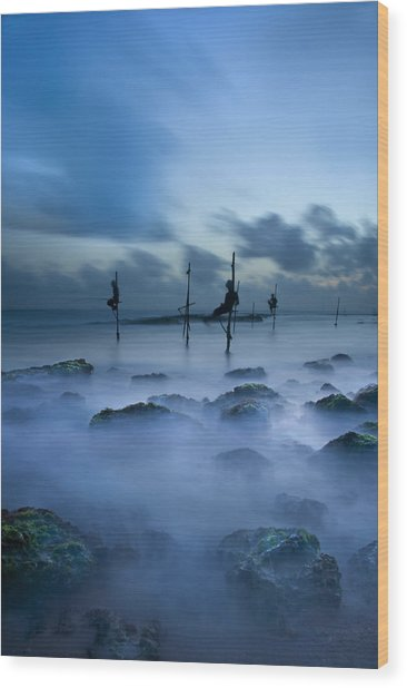 Fishermen At Blue Hour Wood Print