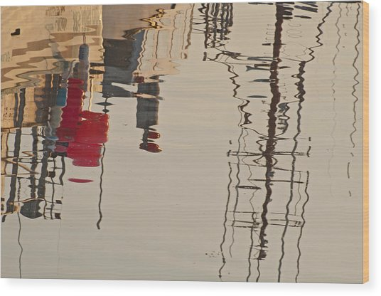 Fishing Boat Reflections Wood Print