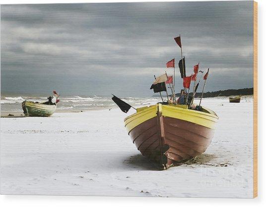Fishing Boats At Snowy Beach Wood Print