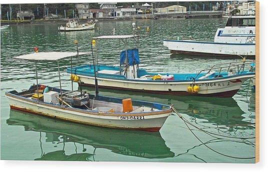 Fishing Boats - Okinawa Japan Wood Print by Jocelyn Kahawai