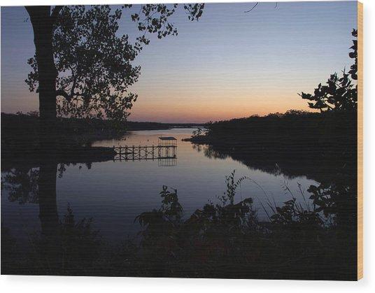 Fishing Pier At Dawn Wood Print by Cindy Rubin