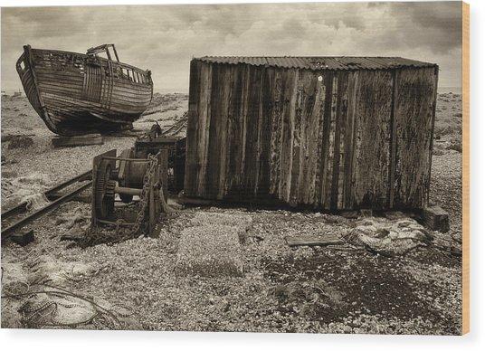 Fishing Remains At Dungeness Wood Print by David Turner