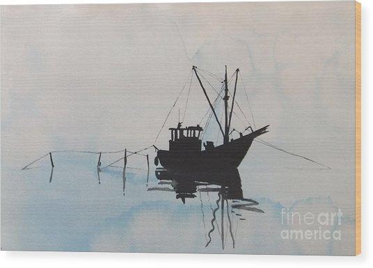 Fishingboat In Foggy Weather Wood Print
