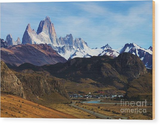 Fitz Roy Wood Print by Bernard MICHEL
