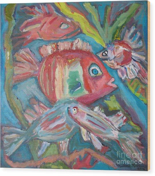 Five Fish Wood Print by Marlene Robbins