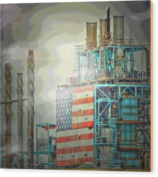 Flag On Refinery Wood Print