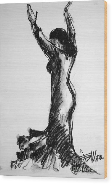Flamenco Sketch 3 Wood Print