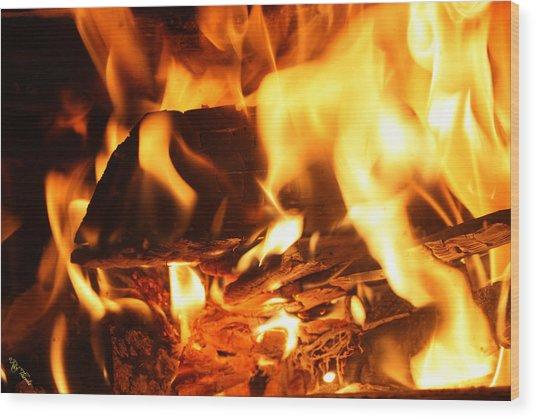 Flames 1 Wood Print