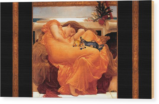 Flaming June Doxies Masterpiece Wood Print by Laura Sotka