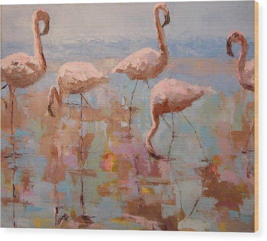 Flamingoes Wood Print
