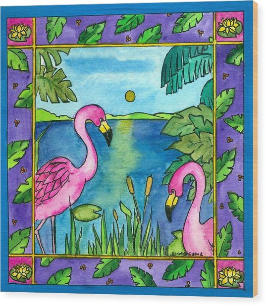 Flamingos Wood Print by Pamela  Corwin