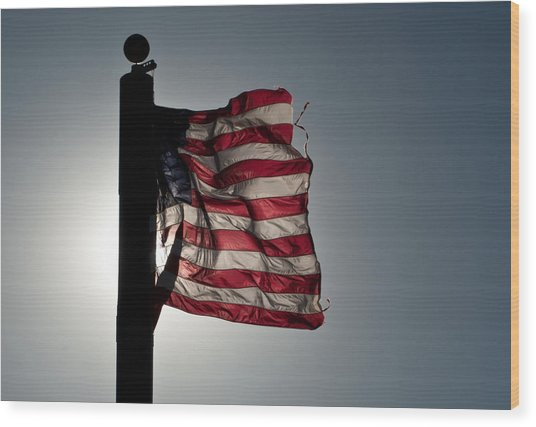 Flappin Old Glory Wood Print by Keith Sanders