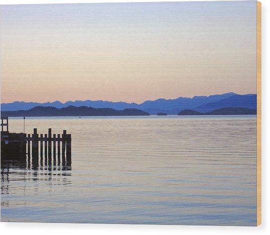 Flathead Lake At Dusk Wood Print