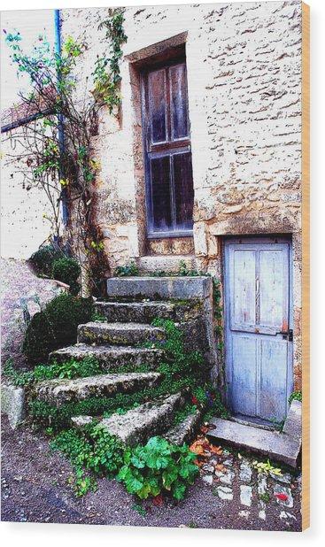 Flavigny Steps Wood Print by Michael Dantuono