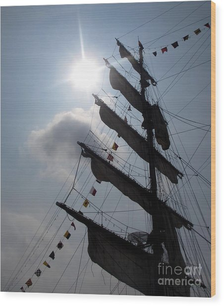 Fleet Week - Main Sail Wood Print by Maria Scarfone