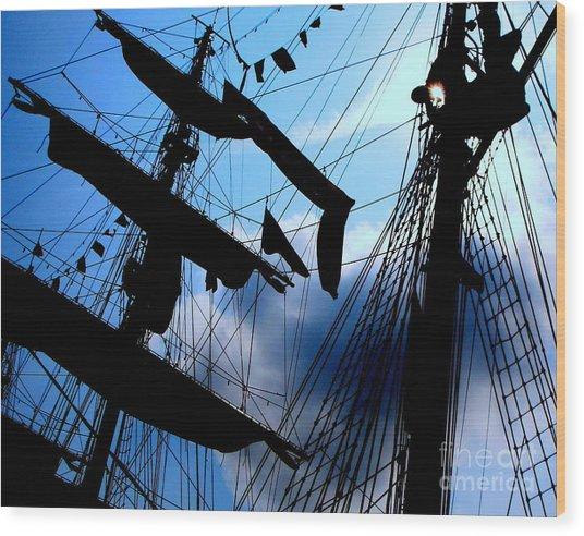 Fleet Week - Masts Wood Print by Maria Scarfone