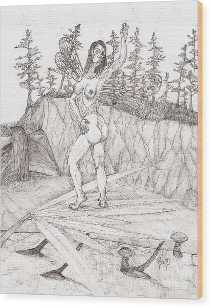 Flexible In The Morning... - Sketch Wood Print by Robert Meszaros