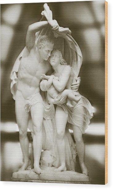 Flight From Pompeii Wood Print