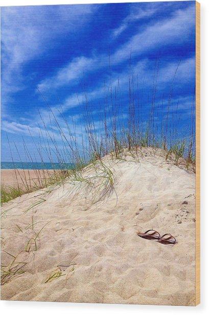 Flip Flops In The Sand Wood Print