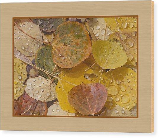 Floating Aspen Leaves Wood Print