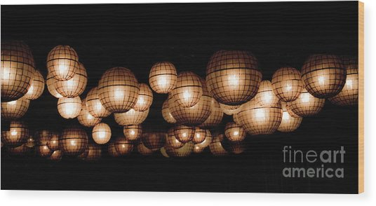 Floating Orbs Wood Print