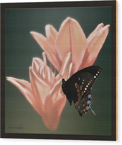 Floral Butterfly Dance Wood Print by Debra     Vatalaro