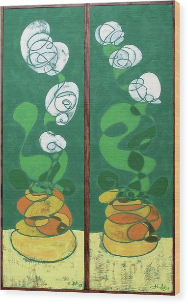 Floral Diptych In Green And Orange Wood Print