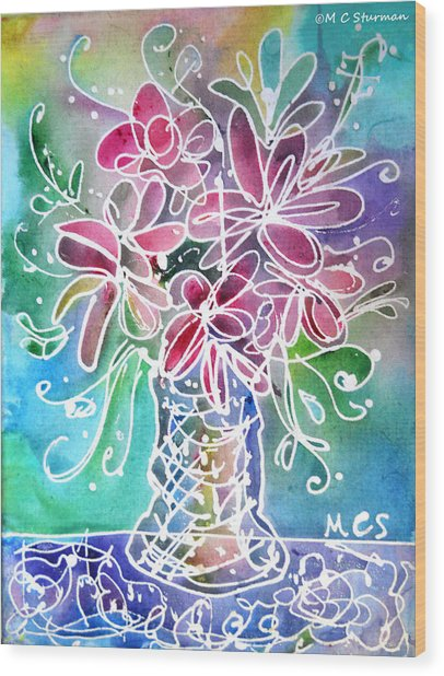 Floral Wood Print by M c Sturman