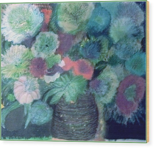Floral With Blues Wood Print by Anne-Elizabeth Whiteway