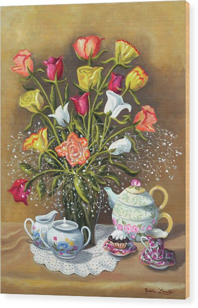 Floral With China And Ceramics Wood Print