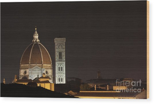 Florence Skyline At Night Wood Print by Chris Hill