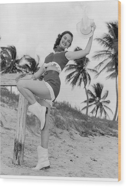 Florida Cow Girl Wood Print by Archive Photos