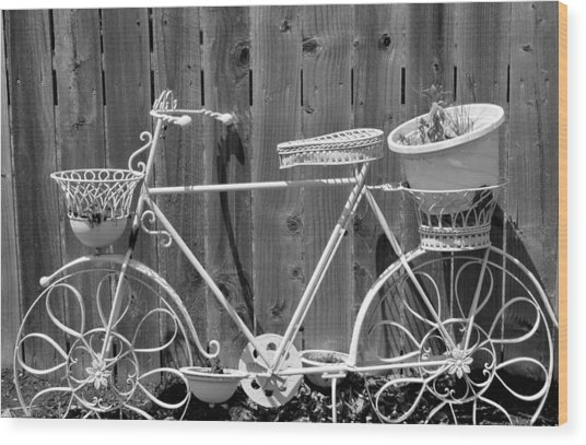 Flower Bike Wood Print