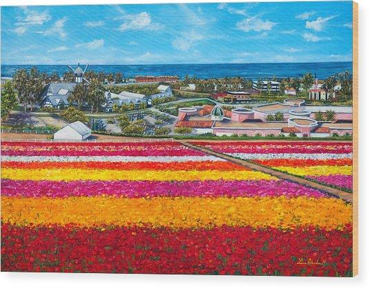 Flower Fields Wood Print by Lisa Reinhardt