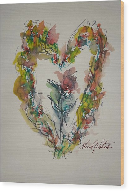 Flower Heart Song Wood Print by Edward Wolverton