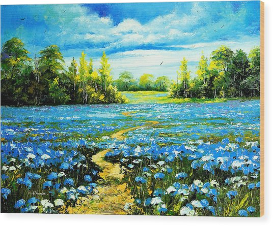 Flower Path Way Wood Print by Nelsons