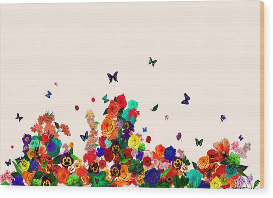 Flower Power Vintage Montage Wood Print by Carly Ralph