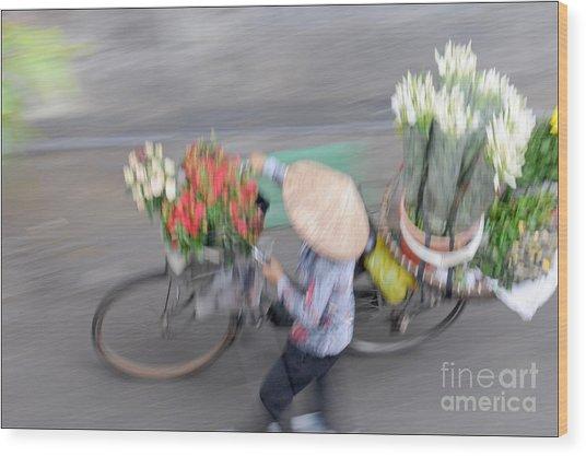 Flower Seller Wood Print