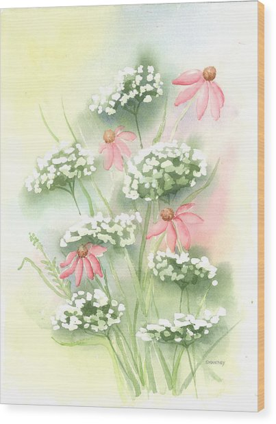 Flowers And Lace Wood Print by Susan Mahoney