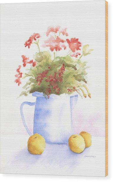 Flowers And Lemons Wood Print by Susan Mahoney